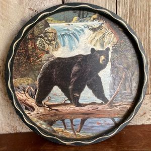 Vintage Bear Over Water Decorative Serving Tray